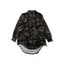 Letter Printed Long Sleeve Lapel Collar High Low Hem Buttons Down Shirt