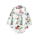 Oversize Cartoon Printed Lapel Collar Long Sleeve High Low Hem Shirt