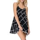 Hot Fashion Crisscross Back Color Block Pompom Hem Mini Slip Dress