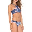 New Arrival Hot Fashion Color Block Halter Neck Bikini Swimwear