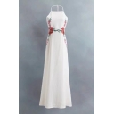 New Arrival Floral Embroidered Halter Neck Open Back Midi A-Line Dress