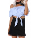 Sexy Women's Off the Shoulder Striped Ruffle Front Short Sleeve Cropped Blouse