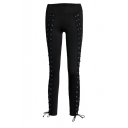 New Arrival Grommet Lace-Up Plain Skinny Pants