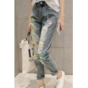 New Fashion Letter Print Patchwork Ripped High Waist Capris Jeans