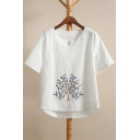Tree Embroidered V Neck Short Sleeve Summer's Linen Casual Tee