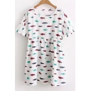Lovely Cartoon Fish Printed Short Sleeve Round Neck Mini T-Shirt Dress
