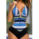 New Arrival Tribal Printed Open Back Halter Neck One Piece Swimwear