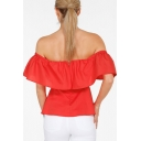 Sexy Women's Off the Shoulder Zip Back Short Sleeve Ruffle Plain Blouse