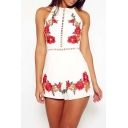 Floral Printed Cut Out Sleeveless Hot Fashion Beach Leisure Rompers