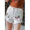 Hot Fashion High Rise Floral Embroidered Ripped Summer's Denim Shorts