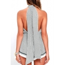 Polka Dot Printed Halter Neck Bow Back Open Back Casual Leisure Rompers