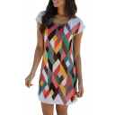 Color Block Geometric Printed Round Neck Short Sleeve Mini T-Shirt Dress