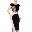 Elegant Short Sleeve Floral Color Block Midi Pencil Dress