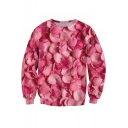 Round Neck Long Sleeve Digital Petals Pattern Pullover Sweatshirt