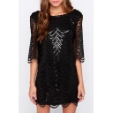 Summer's Sexy Hollow Out Sequined Half Sleeve Open Back Mini Shift Dress