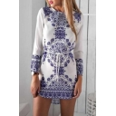 Women's Long Sleeve Color Block Printed Round Neck High Low Hem Mini Dress