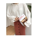 Fashion Round Neck Bell Long Sleeve Pleated Front Plain Blouse