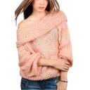 Hot Fashion Cocoon Neck Long Sleeve Casual Leisure Plain Sweater