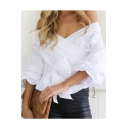 V Neck Off The Shoulder Tie Waist New Fashion Plain Blouse