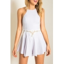 New Arrival Lace Inserted Hollow Out Waist Zip Back Sleeveless Plain Rompers