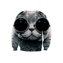 New Arrival 3D Eyeglasses Cat Printed Long Sleeve Round Neck Pullover Sweatshirt