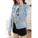 Stylish Letter Patched Ripped Lapel Collar Long Sleeve Buttons Down Denim Jacket