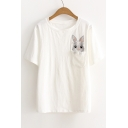 Cute Pocket Embroidery Rabbit Pattern Short Sleeve Round Neck Tee
