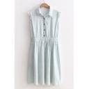 Women's Lapel Sleeveless Elastic Waist Color Block Midi Denim Shirt Dress
