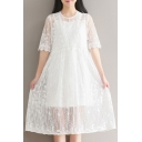 Two Pieces Half Sleeve Round Neck Lace Plain Midi Dress with One Cami