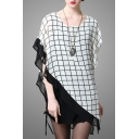 New Arrival Plaid Color Block Batwing Short Sleeve Drawstring Side Asymmetric Dress