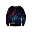 New Fashion 3D Colorful Lines Printed Round Neck Long Sleeve Pullover Sweatshirt