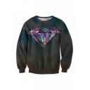 New Arrival 3D Diamond Printed Long Sleeve Round Neck Pullover Sweatshirt