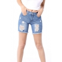 Women's Ripped Cutout Fringe Hem Mid Waist Plain Denim Shorts