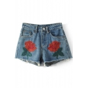 Embroidery Floral Pattern Fringe Hem High Waist Denim Shorts