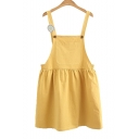 Fashion Straps Sleeveless Plain Mini Overall Dress with One Pocket