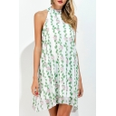 Summer's Fresh Halter Neck Floral Printed Chiffon Mini A-Line Dress