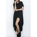 Casual Leisure Plain Round Neck Short Sleeve Asymmetrical T-Shirt Dress