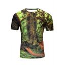 New Fashion Digital Printed Round Neck Short Sleeve Pullover T-Shirt
