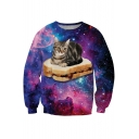 Galaxy Cat Pattern Round Neck Long Sleeve Loose Casual Sweatshirt