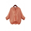 New Arrival V Neck Long Sleeve High Low Hem Plain Pullover Blouse