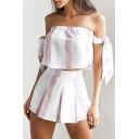 New Fashion Striped Printed Bow Sleeve Cropped Top with Leisure Shorts