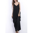 Beach Holiday Plain Leisure Spaghetti Straps Maxi Chic Slip Dress