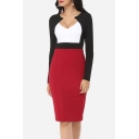 Hot Fashion Plunge Neck Long Sleeve Color Block Midi Pencil Dress
