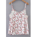 Summer's Fresh Floral Printed Hollow Out Leisure Cami Top