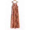 Round Neck Sleeveless Tribal Printed Chiffon Maxi Tank Dress
