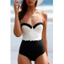 Hot Fashion Black&White Color Block Halter Neck High Waist One Piece Swimwear