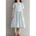 Floral Printed Round Neck Short Sleeve Midi T-Shirt Dress with Pockets
