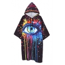 Hooded Short Sleeve Eye Printed Casual Oversize Midi Loose T-Shirt Dress