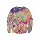Hot Fashion 3D Cartoon Girl with Cat Printed Round Neck Long Sleeve Pullover Sweatshirt
