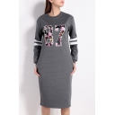 Fashion 87 Floral Printed Long Sleeve Round Neck Midi T-Shirt Dress with Pockets